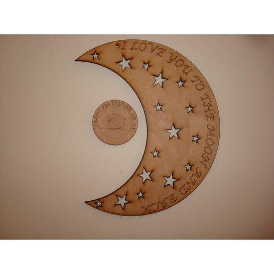 3mm MDF I Love You to the Moon and Back words in moon crescent with stars Valentines