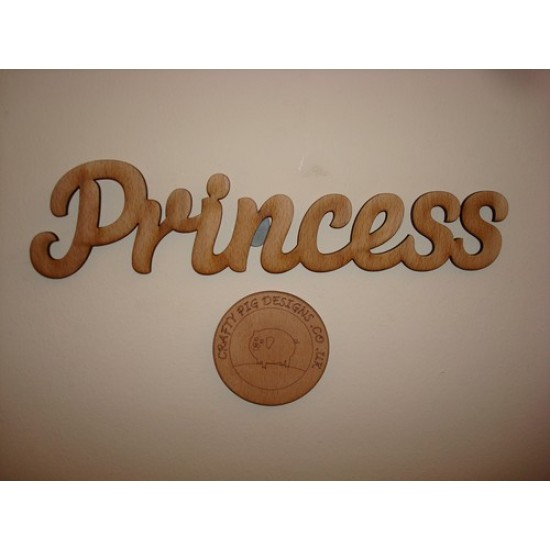 3mm MDF Princess Word in Susa Font Joined Words