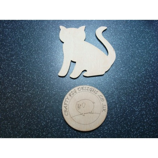 3mm MDF Sitting Cat Tail Up Animal Shapes
