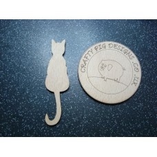 3mm MDF Sitting Cat Tail Down Animal Shapes