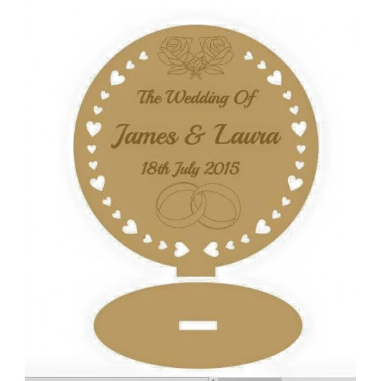 3mm MDF Freestanding Table Decoration - Personalised with names & date  Personalised and Bespoke