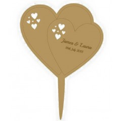 3mm MDF Matching Hearts - Wedding Cake topper - Personalised with names & date