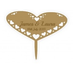 3mm MDF Wide Heart - Wedding Cake topper - Personalised with names & date