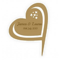 3mm MDF Hearts in a heart - Wedding Cake topper - Personalised with names & date