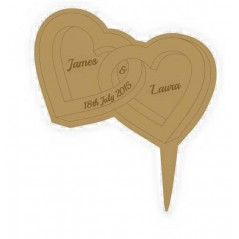 3mm MDF Heart shaped rings - Wedding Cake topper - Personalised with names & date  Personalised and Bespoke