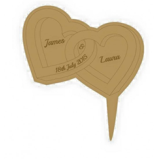 3mm MDF Heart shaped rings - Wedding Cake topper - Personalised with names & date