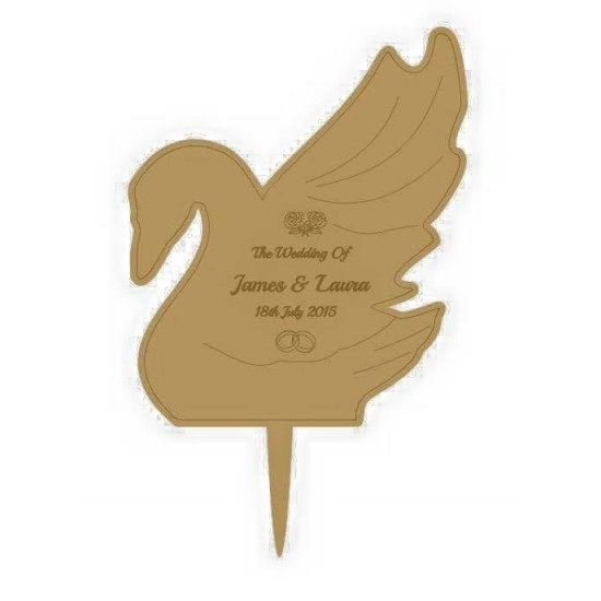 3mm MDF Swan - Wedding Cake topper - Personalised with names & date