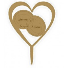 3mm MDF Rings in heart - Wedding Cake topper - Personalised with names & date