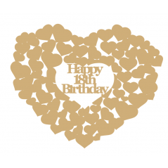 3mm MDF Happy 18th Birthday heart of hearts Hearts With Words