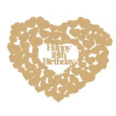 3mm MDF Happy 18th Birthday heart of hearts