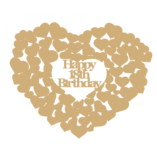 3mm MDF Happy 18th Birthday heart of hearts