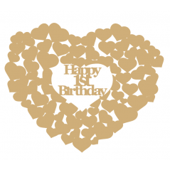 3mm MDF Happy 1st Birthday heart of hearts