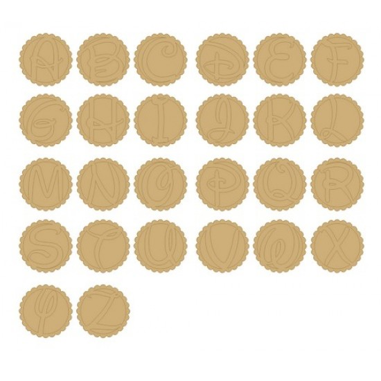 3mm MDF 3 piece scalloped circle and back with choice of letter Basic Plaque Shapes