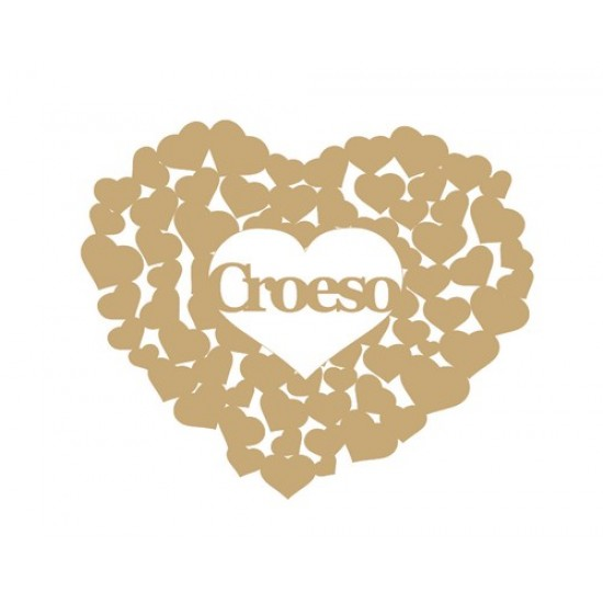 3mm MDF Croeso heart of hearts