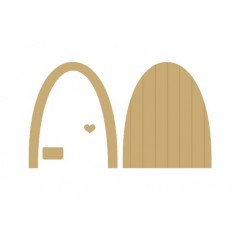 3mm MDF Fairy Door (with small heart, separate border and little sign to hang on the door)