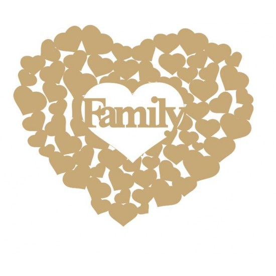 3mm MDF Family heart of hearts Hearts With Words