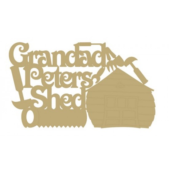 3mm MDF Personalised Grandad's Shed with garage and tools  Room & Door Plaques