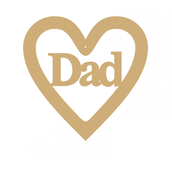 3mm MDF Dad - Heart with Word in Hearts With Words
