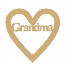 3mm MDF Grandma - Heart with Word in Hearts With Words