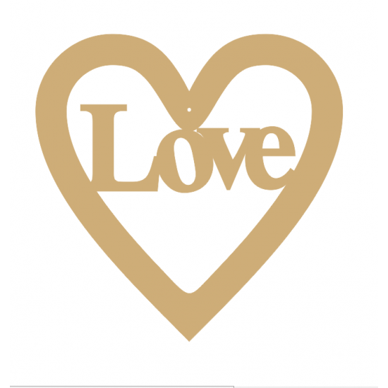 3mm MDF Love - Heart with Word in Hearts With Words