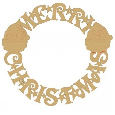 3mm MDF Merry Christmas Circular Door Wreath (with santa heads) Christmas Shapes