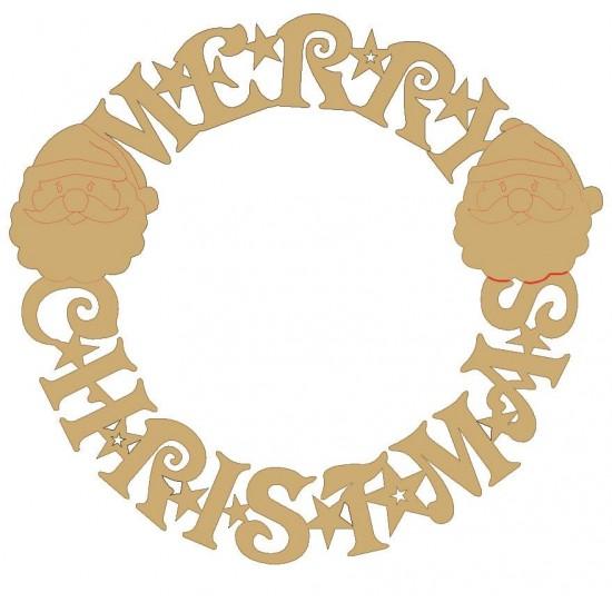 3mm MDF Merry Christmas Circular Door Wreath (with santa heads)