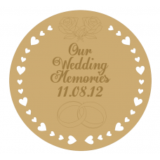 3mm MDF Our Wedding Memories Engraved Board- (personalised with name and date) Personalised and Bespoke