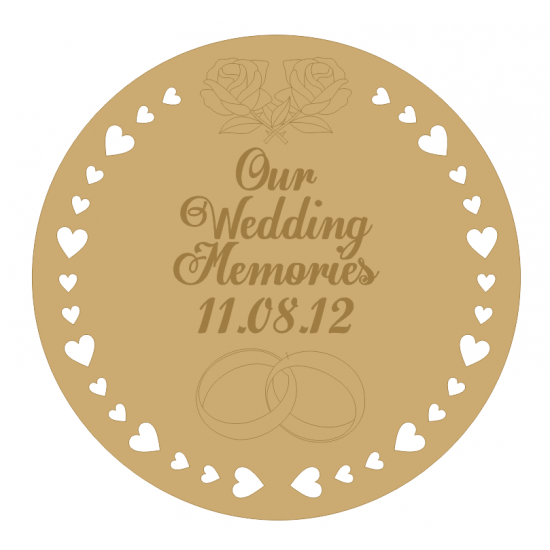 3mm MDF Our Wedding Memories Engraved Board- (personalised with name and date)