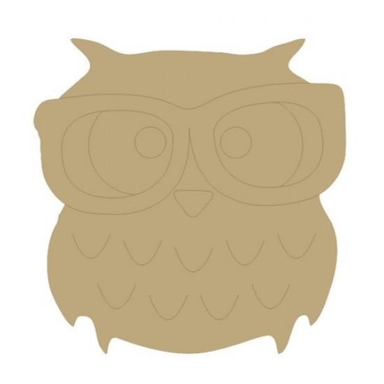 Owl with glasses Small MDF Embellishments