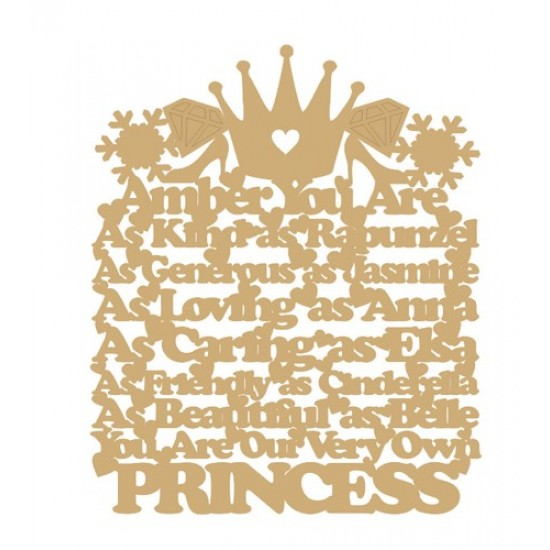 3mm MDF Personalised - you are: as kind as Rapunzel, as generous as Jasmine, As loving as Anna...  hanging plaque