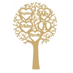 "3mm MDF ""TOGETHER WE MAKE A FAMILY"" - Cut Out Tree  Trees Freestanding, Flat & Kits"