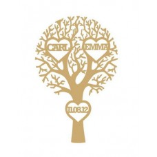 3mm MDF Wedding/Anniversary Tree with 3 Hearts  - Personalised with Your Names and Date Trees Freestanding, Flat & Kits