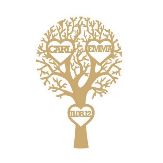 3mm MDF Wedding/Anniversary Tree with 3 Hearts  - Personalised with Your Names and Date