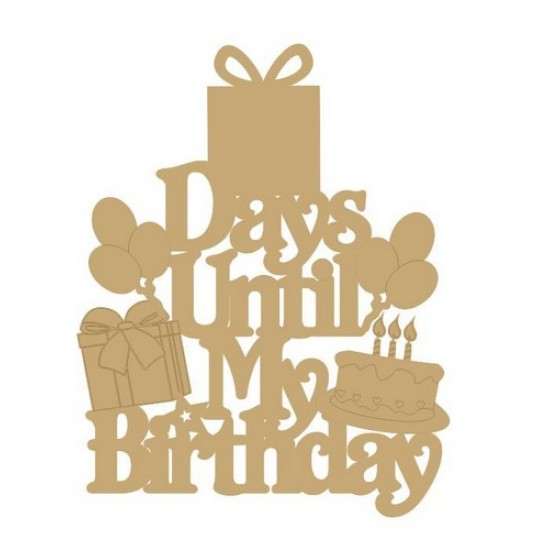 3mm MDF Days until my birthday (Mixed Shapes) Chalkboard Countdown Plaques