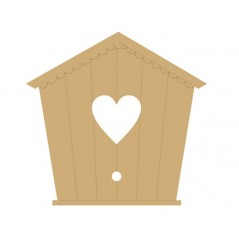 3mm MDF Etched Bird House with Heart in Centre (pack of 5)