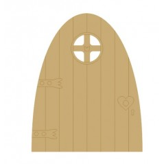 3mm MDF Fairy Door (with etched on frame and cut out window quarters) Fairy Doors and Fairy Shapes