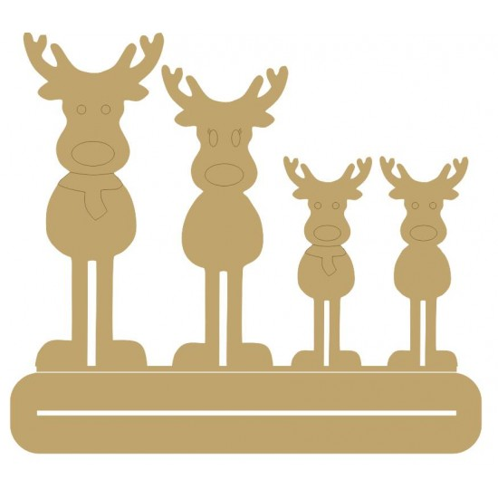 4mm MDF Family Reindeer - Mr and Mrs with two children - Freestanding Christmas Shapes