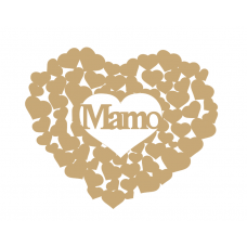 3mm MDF Mamo heart of hearts Hearts With Words