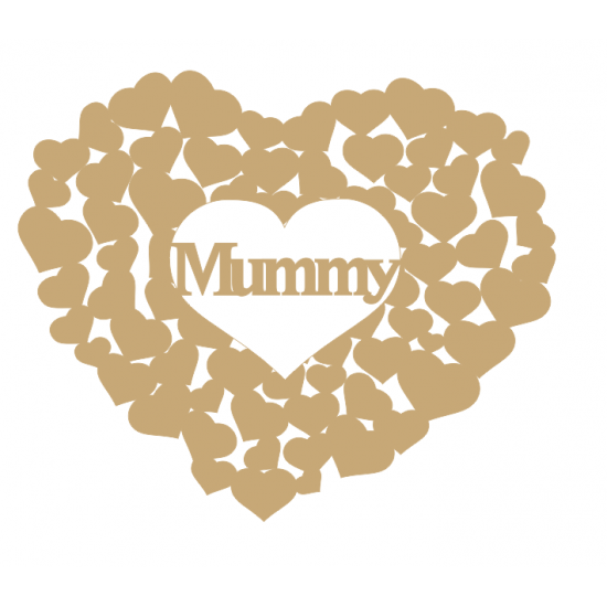 3mm MDF Mummy heart of hearts Hearts With Words