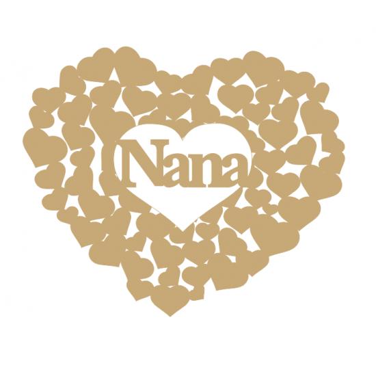 3mm MDF Nana heart of hearts Hearts With Words