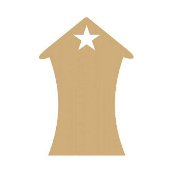 3mm MDF Bendy House with star at top (pack of 5)