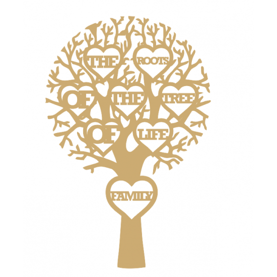 """3mm MDF """"THE ROOTS OF THE TREE OF LIFE FAMILY - Cut Out Tree  Trees Freestanding, Flat & Kits"""