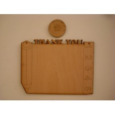 3mm MDF Thank You with Pencil and Ruler Chalkboard Chalkboard Countdown Plaques