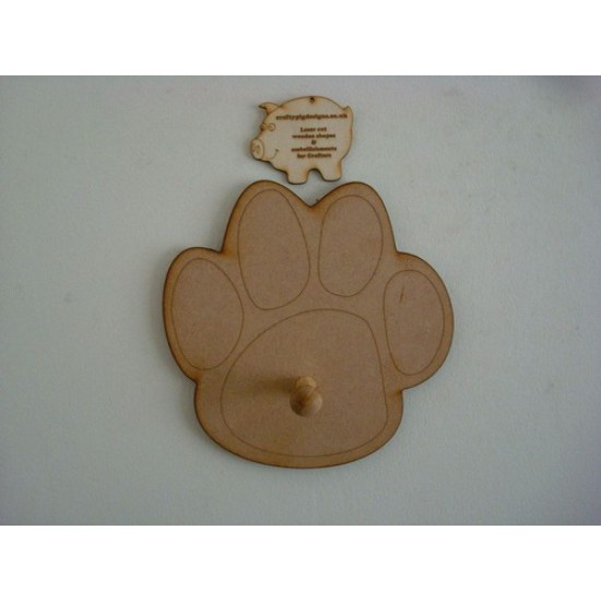 6mm MDF Dog Paw Lead Holder (200mm) Animal Shapes