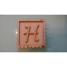 3mm MDF 3 piece scalloped square and back with choice of letter Basic Plaque Shapes