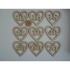 3mm MDF Birthday/Anniversary Heart Numbers (choose from list)