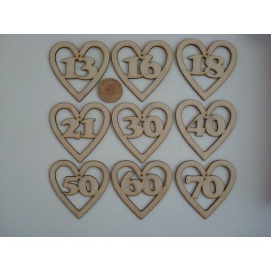 3mm MDF Birthday/Anniversary Heart Numbers (choose from list) Birthdays