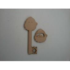 3mm MDF 3D Santa Head Key Christmas Shapes