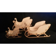 3mm MDF 3D Santa's Sled / Sleigh (3 sizes) Christmas Shapes