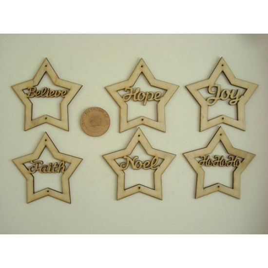 3mm MDF Country Stars with Christmas words in Christmas Shapes